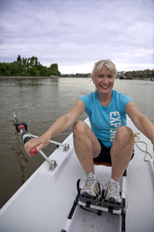 Lady enjoying rowing image