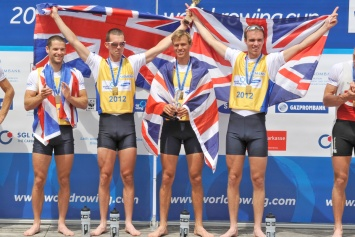 Bartley, Williams and the Chambers brothers celebrate their gold in the lightweight four