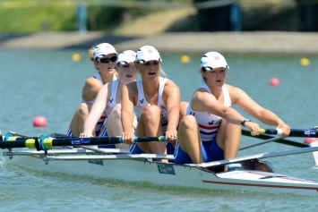 The GB JW4- of (L to R) Lewis, Fairs, Mowczan and Kedar - 7th overall after winning B final