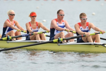 The GB mixed coxed four (L to R) Pam Relph, Naomi Riches, David Smith and James Roe
