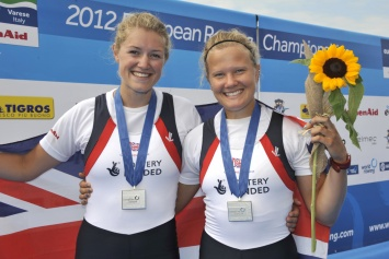 Olivia Carnegie-Brown (left) and Caragh McMurtry celebrate winning silver in the GB women's pair