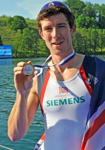 Adam Freeman-Pask after winning gold at the 2012 World Cup in Lucerne in the lightweight men's single scull