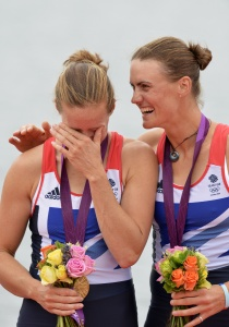 Heather Stanning (right) congratulates her crewmate Helen Glover after winning Team GB's first gold of London 2012