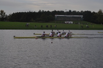 Action from the men's four final