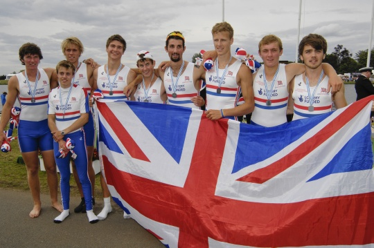 The GB junior men's eight which won silver last year with Robert Wickstead, Alexander Lloyd and Ed Munno (1st, 2nd & 4th from right) who are in the squad for the 2012 World Juniors