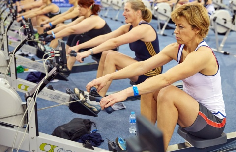 Indoor rowers compete