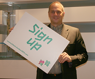 Image of Steve with London 2012 Sign Up Poster