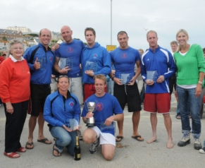 Image of Caradon men with Sharon Davies