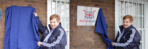 Image of Di Ellis unveiling the new British Rowing sign