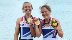 Sophie Hosking and Katherine Copeland winning gold at London 2012.