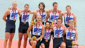 Alex Partridge, James Foad, Tom Ransley, Richard Egington, Mohamed Sbihi, Greg Searle, Matt Langridge, Constantine Louloudis and Phelan Hill (cox) winning bronze at London 2012