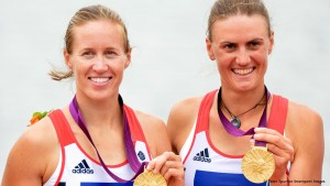Helen Glover and Heather Stanning winning gold at London 2012.