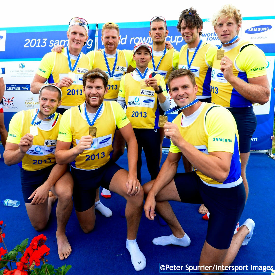 (Clockwise from back left) Oliver Cook, Will Satch, Phelan Hill, Moe Sbihi, Tom Ransley, Andrew Triggs-Hodge, Pete Reed, Daniel Ritchie and James Foad won men's eight gold at the Eton Dorney World Cup in 2013