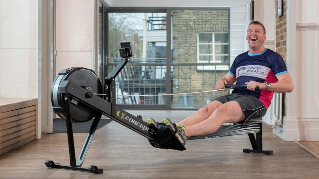 Matthew Pinsent on an indoor rowing machine for The Great Row