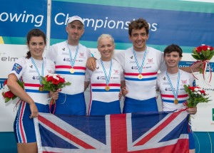 James on the podium at the 2015 Worlds, celebrating gold (second right). Copyright, Peter Spurrier, Intersport Images