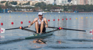 Alan Campbell won his single scull heat to reach the quarters. Copyright: Peter Spurrier