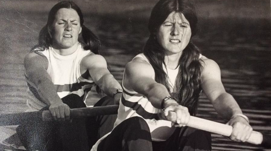 Beryl Crockford and Lin Clark rowing in 1976