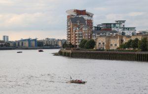 Cornish Gig Fury on the Thames at sunset
