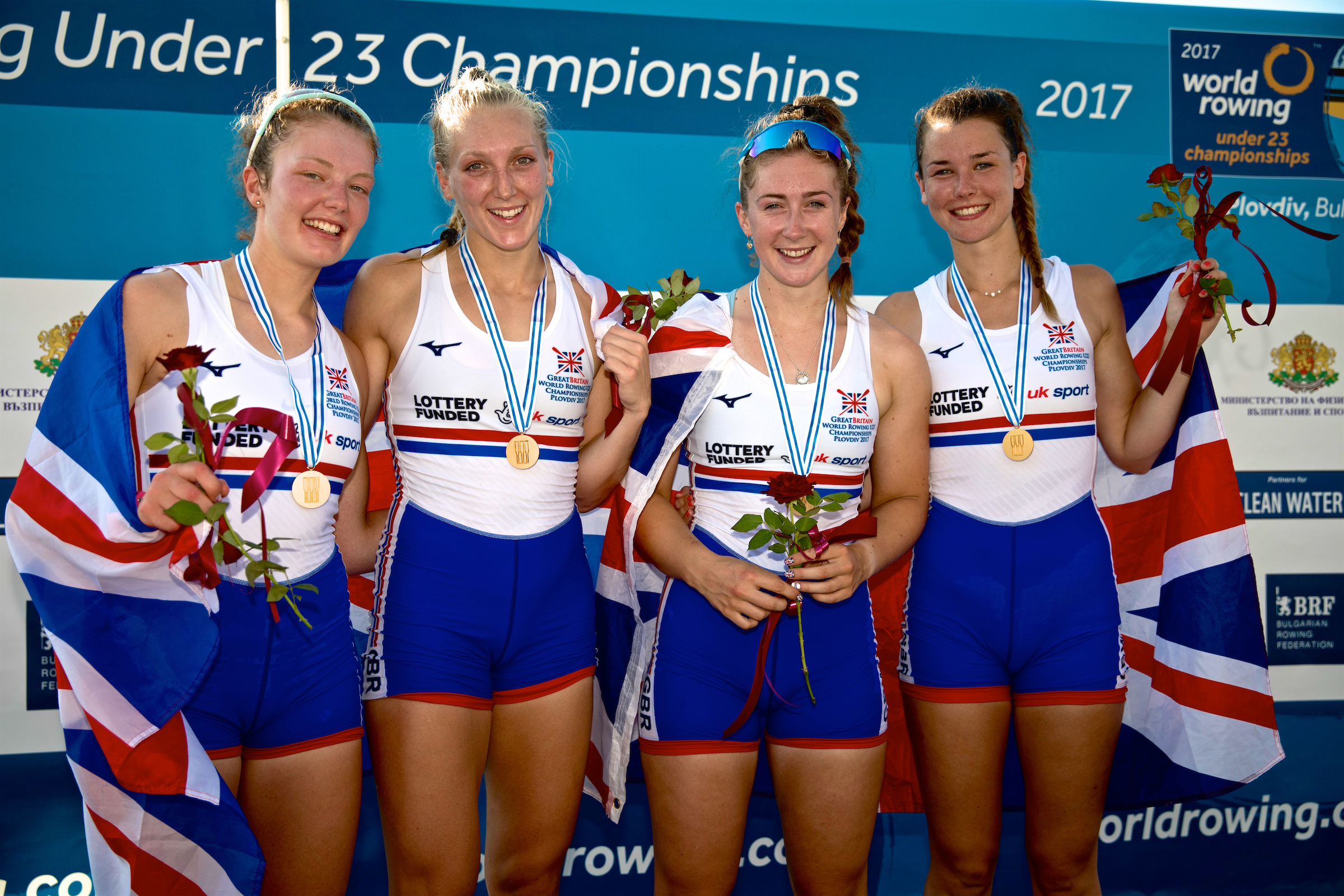 07e9dde0db5 The women s quadruple scull wins gold at the 2017 World Rowing U23  Championships in Plovdiv (Naomi Baker). Great Britain won three medals ...