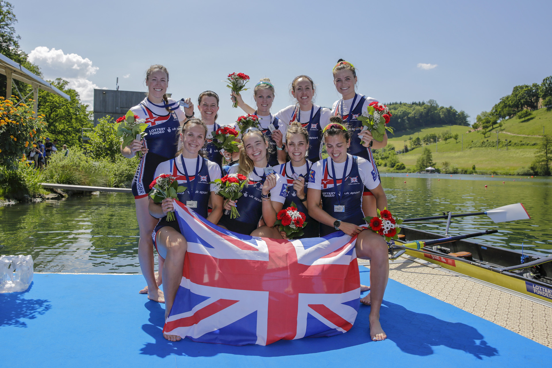 Matilda Horn winning European silver as part of the women's eight. Credit Nick Middleton