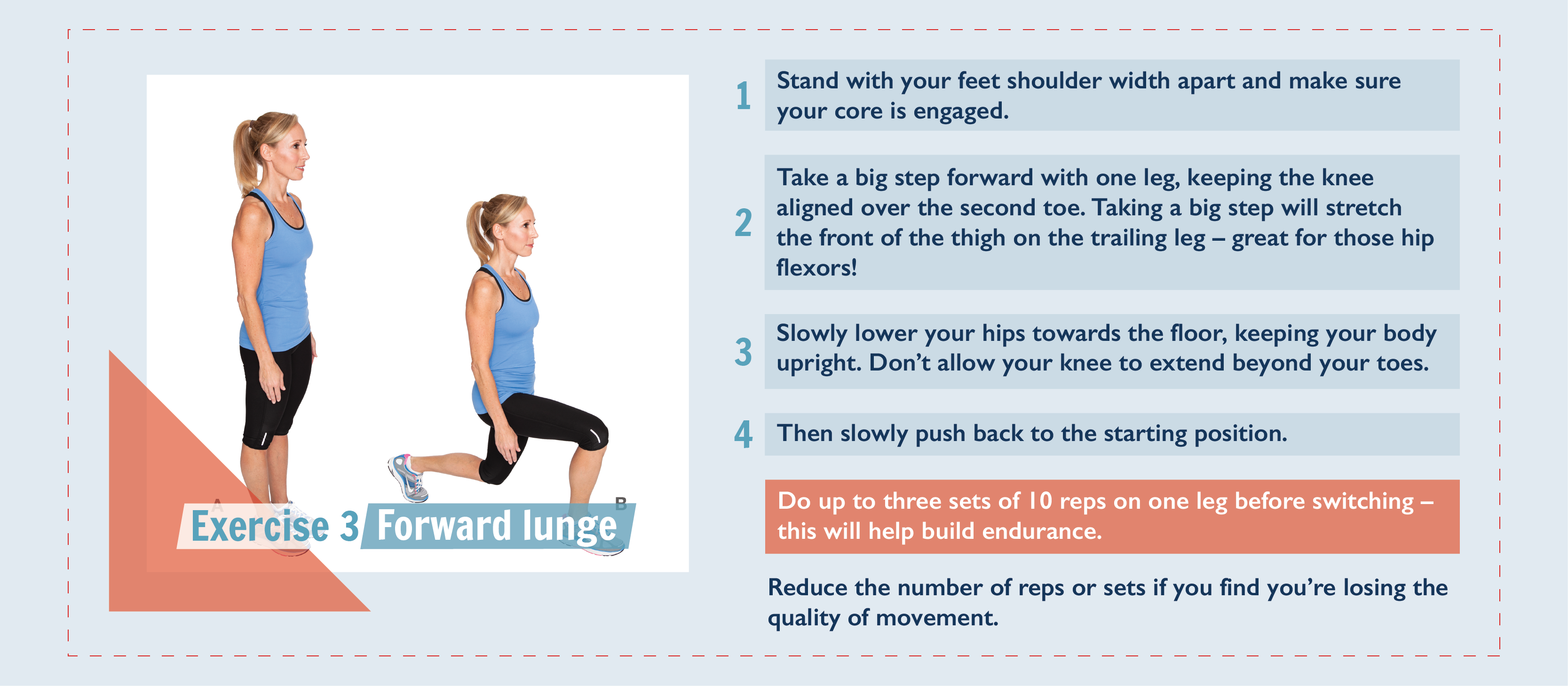 Exercise 3, the forward lunge. Step 1:. Stand with your feet shoulder width apart and your core engaged. Step 2: Take a big step forward with one leg, keeping the knee aligned over the second toe. Taking a big step will stretch the front of the thigh on the trailing leg – great for those hip flexors! Step 3: Slowly lower your hips towards the floor, keeping your body upright. Don't allow your knee to extend beyond your toes. Step 4: Then slowly push back to the starting position. Do up to three sets of 10 reps on one leg before switching – this will help build endurance. Reduce the number of reps or sets if you find you're losing the quality of movement.