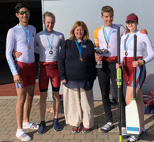 Pictured with the winners of the City Games Sprint Quad Event - Mazyar Amini, Ben Summers, Lewis Henson and Isabel Heal
